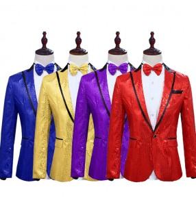 Men's modern dance sequin jazz dance blazers boy school show coats singers host stage performance blazers jackets coat