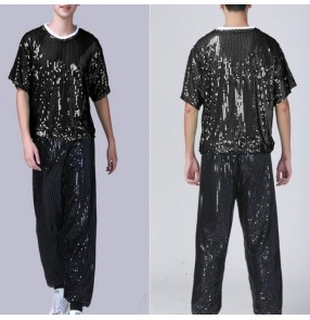 Men's modern jazz dance cheerleaders glitter costumes outfits stage performance hiphop night club dj dance tops and pants