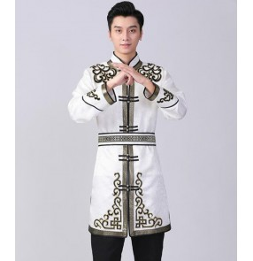 Men's Mongolian dance tops mid-length embroidered Mongolian robe Stage costume Mongolian performance costume horse riding dance suit male