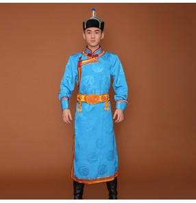 Men's Mongolian robe long Mongolian dance performance costume Mongolian daily wear