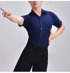 Men's navy blue latin dance shirts youth ballroom dance top for male stage performance waltz tango flamenco dance short sleeves shirts for men