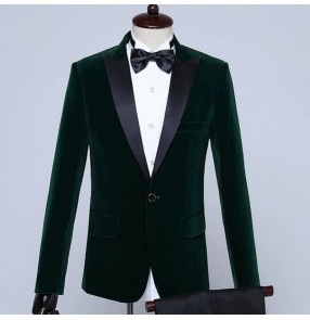 Men's party stage performance dark green royal blue wine black velvet blazers singer host performing coat blazers