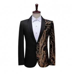 Men's personality singer night club dancers stage performance black red blazers tree pattern dress suits for male jacket stage studio bar DJ host singer suit