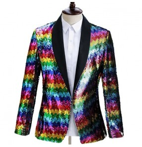 Men's rainbow colored sequined gradient glitter suit jazz dance singers host jacket stage performance singer dress blazers performance suit