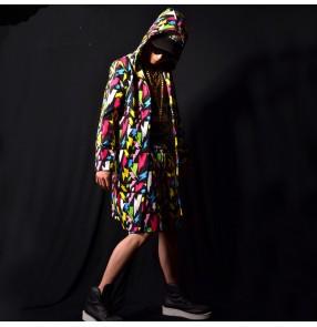 men's rainbow printed jazz dance long hoddies coats hiphop singers male stage sperformance model show long cloak only coat