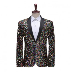 Men's Rainbow Sequined jazz singers host stage performance blazers lapel coat bar dj night club video photos shooting jackets for male