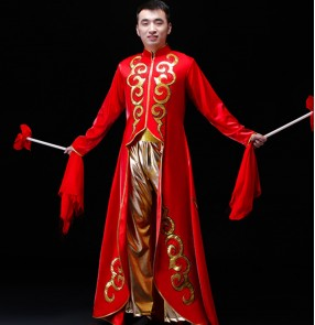 Men's red with gold chinese dragon drummer performance costumes stage performance Chinese waist drum water drum opening dance costume