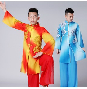 Men's red with gold chinese folk dance costumes wushu martial dragon style drummer taichi martial stage performance uniforms costumes
