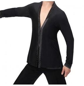 Men's rhinestones black ballroom latin dance cardigans stage performance salsa chacha dance tops