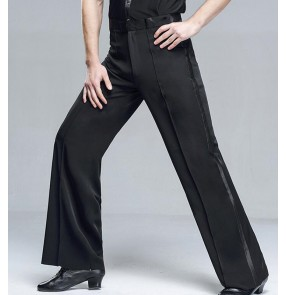 Men's ribbon striped side ballroom latin dance pants male jive chacha paso doble dance competition trousers