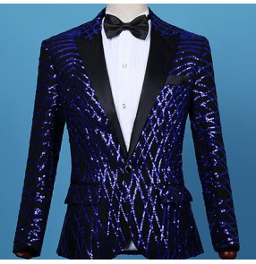 Men's royal blue sequin jazz dance blazers stage performance host singers dancers night club bar perform coats blazer