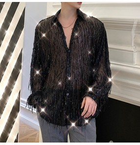 Men's sequins modern jazz hip hop dance tassels shirts singer host gogo dancers night club stage performance see though sexy shirts for male