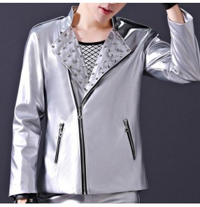 Men's silver jazz dance jackets singer host gogo dancers drummer stage performance night club dj dancing motorcycle short rivet coats