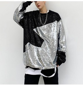 Men's silver with black sequin patchwork jazz dance tops male model show tops singers hiphop gogo dancers stage performance t shirts