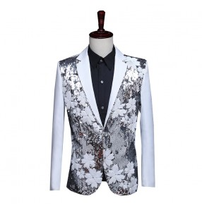 Men's singer host performance blazers suit flower sequined black and white groomsman dress jacket singer stage nightclub piano performance suit