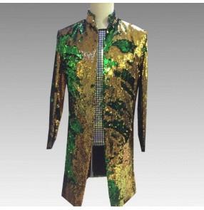 Men's singers chorus dj jazz dance long coats groomsmen blazers stage performance modern dance long jackets