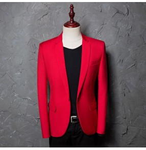 Men's singers chorus stage performance blazers male red color groomsman married evening party dancing cosplay coats
