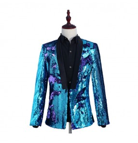 Men's singers dancing blazers green blue gold sequin paillette modern dance jazz magician stage performance host dancing coats jacket
