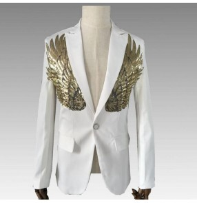 Men's singers host blazers white black colored male sequin photography dancers stage performance jazz dance coats jackets