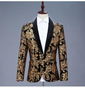 Men's singers host jazz dance blazers flroal paillette male modern dance performance flroal jacket blazers coats