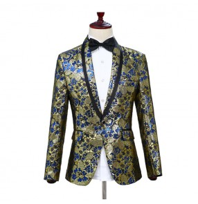 Men's singers host stage performance blazer floral modern dance night club dance coats jackets blazers