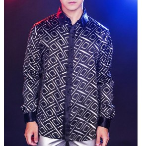 Men's singers host stage performance printed shirts male geometry printed fashion night club show cosplay tops shirt