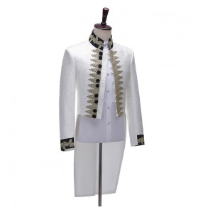 Men's singers magician host stage Performance tuxedo coats white dress suits men's jacquard court suit European style Prince performing cosplay jacket