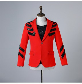 Men's singers red with black sequined jazz dance blazers host bar mode show gogo dancers youth stage performance coats for male bridegoom photos shooting jackets