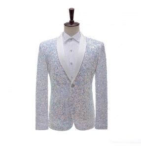 Men's stage performance white sequined dress suit blazers flashing bar nightclub stage performance suit host singer color jacket