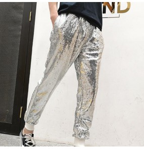 Men's stretchy silver black sequin sports jazz dance hiphop performance pencil long pants