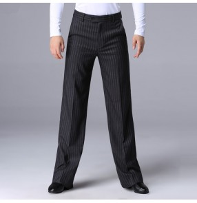 Men's striped ballroom latin dance pants male professional competition waltz tango chacha long length latin dance trousers