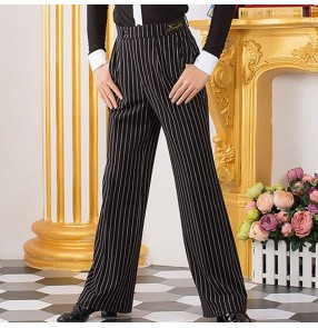 Men's striped latin dance pants ballroom tango chacha dance long trousers for male