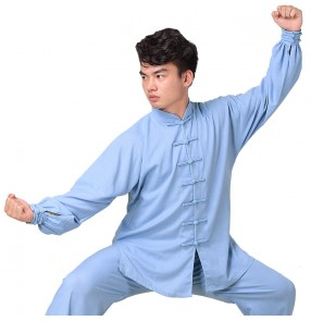 Men's tai-chi Wushu uniforms kungfu cotton material clothing fitness training exercises martial art competition performance clothing
