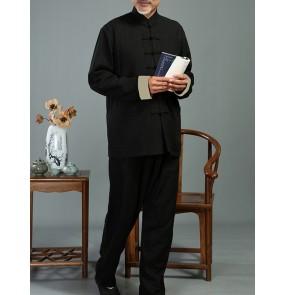 men's taichi kungfu clothing Spring autumn cotton and linen Tang suit men's two-piece layman's Han suit linen father suit Tai Chi suit