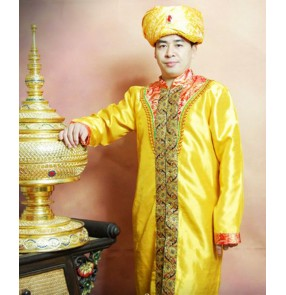 Men's traditional Indian style dance costumes male gold colored stage performance party new year festival drama cosplay robes dress