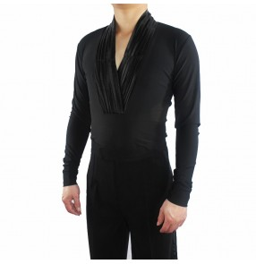Men's v neck black latin dance body shirts ballroom waltz tango dance body shirts salsa rumba chacha dance tops shirts