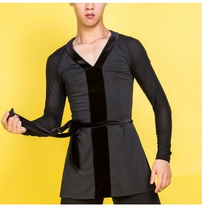 Men's velvet with mesh latin ballroom dance shirts stage performance competition ballroom salsa rumba chacha dance tops shirts