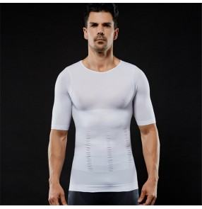 Men's weight loss body shaper clothing seamless tops abdomen tummy corset t shirts for male