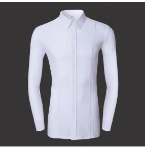 Men's white black ballroom latin dance shirts for man modern dance competition waltz tango flamenco dance tops for male