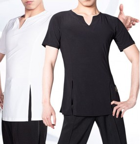 Men's white black short sleeves latin dance shirts practice exercises stag performance ballroom tango waltz dance tops