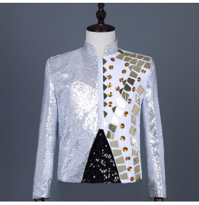 Men's white with silver lens sequins jazz dance jackets host singers stage performance jacket punk rock performing short jackets