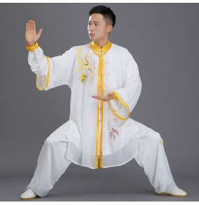 Men's women chinese dragon taichi kungfu suit wushu martial arts uniforms competition performance clothing