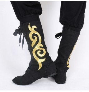 Men's women Mongolian dance shoes boots male female chinese folk dance shoes boots