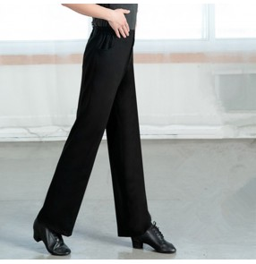 Men's women's ballroom latin dance pants straight stretchable fabric competition professional latin ballroom chacha rumba jive dance pants trousers