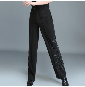 Men's women's competition stones ballroom latin dance pants stage performance modern dance jive waltz tango long trousers