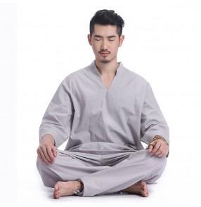 Men's yoga clothes yoga suit loose cotton and linen autumn and winter men's Indian meditation lay clothes meditation Tai Chi clothes