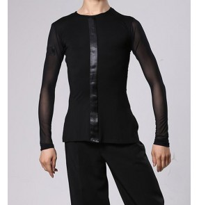 Men's youth black color ballroom latin dance shirts modern front with ribbon waltz tango dance long sleeves tops