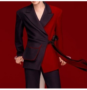 Men's youth black with red singers jazz dance blazers model show photo shooting party dress suit for male gogo dancers coats with fringe sashes