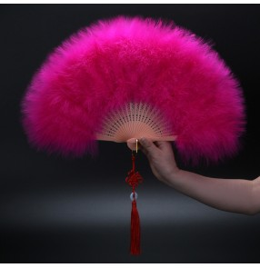 Model show stage performance Thickened feather fan cheongsam catwalk opening dance stage performance dance fan