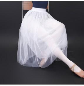 Modern dance Ballet dance tutu tulle skirt teacher Dance skirt white mid-length adult exercise skirt female soft veils long skirt